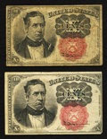 Fractional Currency:Fifth Issue, Fr. 1265 10¢ Fifth Issue Two Examples Very Good or Better.. ...(Total: 2 notes)