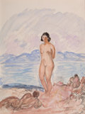 Works on Paper, HENRI BAPTISTE LEBASQUE (French, 1865-1937). Nude Bathers. Watercolor and pencil on watermarked paper. 12-3/4 x 10-1/2 i...