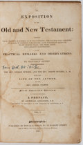 Books:Religion & Theology, Matthew Henry. An Exposition of the Old and New Testament. Towar and Hogan, 1828. First American edition, volume I o...