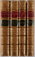 Books:Fine Bindings & Library Sets, Laurence Sterne. The Works. Bickers, 1873. Complete in four octavo volumes. Contemporary full tan calf, gilt. Bi... (Total: 4 Items)