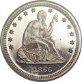 Proof Seated Quarters, 1866 25C Motto PR65 Cameo NGC....