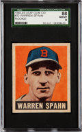Baseball Cards:Singles (1940-1949), 1948 Leaf Warren Spahn #32 SGC 88 NM/MT 8....
