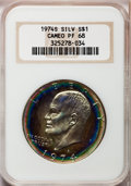 Proof Eisenhower Dollars: , 1974-S $1 Silver PR68 Cameo NGC. NGC Census: (368/344). PCGSPopulation (122/138). Numismedia Wsl. Price for problem free ...