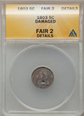 Early Half Dimes: , 1803 H10C Large 8 -- Damaged -- ANACS. Fair 2 Details. NGC Census:(0/36). PCGS Population (1/92). Mintage: 37,850. Numisme...