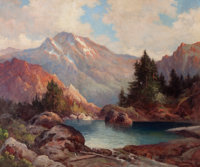 ROBERT WILLIAM WOOD (American, 1889-1979) Among the Rockies, 1942 Oil on canvas 25 x 30 inches (6