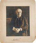 Autographs:Photos, Circa 1910 Thomas Edison Cabinet Photograph....