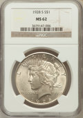 Peace Dollars: , 1928-S $1 MS62 NGC. NGC Census: (730/2545). PCGS Population(951/3667). Mintage: 1,632,000. Numismedia Wsl. Price for probl...