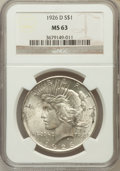 Peace Dollars: , 1926-D $1 MS63 NGC. NGC Census: (656/1578). PCGS Population(1243/2373). Mintage: 2,348,700. Numismedia Wsl. Price for prob...