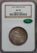 Seated Half Dollars, 1873 50C Arrows AU58 NGC. CAC. WB-106....