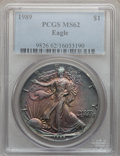 Modern Bullion Coins: , 1989 $1 Silver Eagle MS62 PCGS. PCGS Population (2/6380). NGC Census: (1/91235). Mintage: 5,203,327. Numismedia Wsl. Price ...