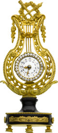 Timepieces:Clocks, French Decorative Lyre Form Clock With Fancy Dial. ...