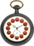 Timepieces:Pocket (post 1900), Swiss Fancy Dial Watch With Libertine Automaton, circa 1901. ...