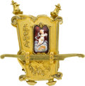 Timepieces:Clocks, French Rare Palanquin Form Miniature Clock With Limoges Panels,circa 1889. ...