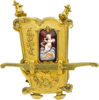 French Rare Palanquin Form Miniature Clock With Limoges Panels, circa 1889