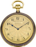 Timepieces:Pocket (post 1900), Patek Philippe Gold & Enamel Pocket Watch For Spaulding & Co., circa 1910. ...