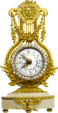 Timepieces:Clocks, French Small Lyre Form Gilt & Marble Clock. ...