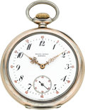 Timepieces:Pocket (post 1900), Patek Philippe Silver Pocket Watch With Unusual Dial, circa 1903....