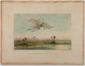 """Books:Prints & Leaves, Color Lithograph """"The Engraving of the First Carriage, the""""Aerial"""". 13"""" x 10"""", mounted to a backing board. Scattered light..."""