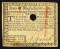 Colonial Notes:Massachusetts, Massachusetts May 5, 1780 $20 Extremely Fine, HOC.. ...