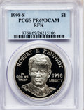Modern Issues: , 1998-S $1 Robert F. Kennedy Silver Dollar PR69 Deep Cameo PCGS.PCGS Population (1142/41). NGC Census: (1232/61). Numismed...
