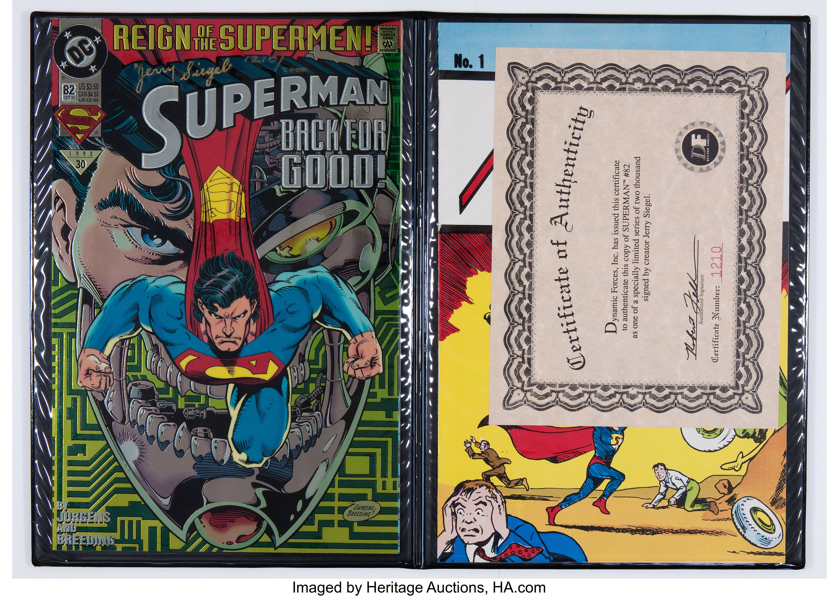 Superman 82 Collector S Editions Signed By Jerry Siegel Dc 1993 Lot 12578 Heritage Auctions