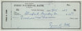Autographs:Checks, 1957 Ty Cobb Signed Check, PSA/DNA Gem Mint 10....