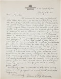 Football Collectibles:Others, 1947 Glenn Pop Warner Handwritten, Signed Letter - To Founder of Pop Warner Football League!...