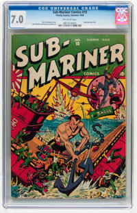 Sub-Mariner Comics #10 (Timely, 1943) CGC FN/VF 7.0 Off-white pages