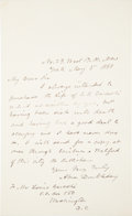 Autographs:Letters, 1888 Abner Doubleday Handwritten Signed Letter....