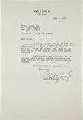Golf Collectibles:Autographs, 1953 Bobby Jones Signed Letter, PSA/DNA Gem Mint 10....