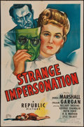 "Movie Posters:Mystery, Strange Impersonation (Republic, 1946). One Sheet (27"" X 41"").Mystery.. ..."