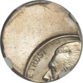 Errors, Undated 5C Jefferson Nickel -- Struck 55% Off Center on a Dime Blank -- MS65 NGC....