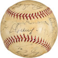 Autographs:Baseballs, 1938 New York Yankees & Detroit Tigers Signed Baseball with LouGehrig....