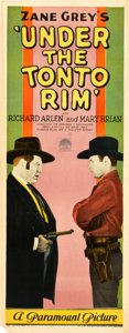"""Movie Posters:Western, Under the Tonto Rim (Paramount, 1928). Insert (14"""" X 36"""").. ..."""