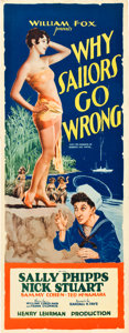 "Movie Posters:Comedy, Why Sailors Go Wrong (Fox, 1928). Insert (14"" X 36"").. ..."