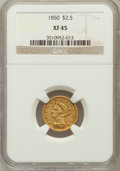 Liberty Quarter Eagles: , 1850 $2 1/2 XF45 NGC. NGC Census: (22/377). PCGS Population(35/129). Mintage: 252,923. Numismedia Wsl. Price for problem f...