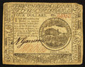 Colonial Notes:Continental Congress Issues, Continental Currency February 17, 1776 $4 Very Fine.. ...