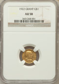 Commemorative Gold: , 1922 G$1 Grant No Star AU58 NGC. NGC Census: (28/1155). PCGSPopulation (55/1944). Mintage: 5,000. Numismedia Wsl. Price fo...