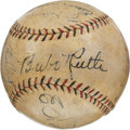 Autographs:Baseballs, 1934 Tour of Japan Partial Team Signed Baseball with Ruth, Gehrig....