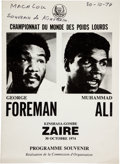 "Boxing Collectibles:Memorabilia, 1974 Muhammad Ali vs. George Foreman ""Rumble in the Jungle"" On-Site Fight Program...."