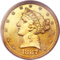 Proof Liberty Half Eagles, 1887 $5 PR65 PCGS....