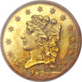 Proof Classic Quarter Eagles, 1834 $2 1/2 PR63 Cameo PCGS. Small Head, Breen-6138, Variety 1, R.7as a proof....