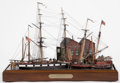 Paintings, SCALE SHIP MODEL DIORAMA 'IN FOR PROVISIONS'. American Marine and Ship Model Gallery, Salem MA. A remarkably detailed depict...