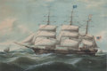 Maritime:Paintings, DUNCAN MCFARLANE (British American, 1818-1865). The Ship 'EllenHood', 1855. Watercolor. 18-1/2 x 27 inches (47.0 x 68.6...