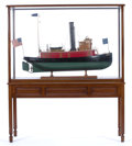 Maritime:Decorative Art, SCALE MODEL OF THE HISTORIC AMERICAN TUGBOAT 'CAMDEN'. A finelydetailed, large scale model presented in mahogany inlay and ...