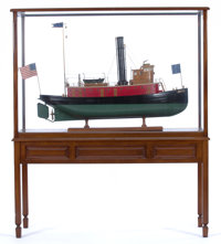 SCALE MODEL OF THE HISTORIC AMERICAN TUGBOAT 'CAMDEN' A finely detailed, large scale model presented in mahogany i