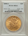 Liberty Double Eagles: , 1890-S $20 MS61 PCGS. PCGS Population (272/657). NGC Census:(602/451). Mintage: 802,750. Numismedia Wsl. Price for problem...