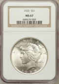 Peace Dollars: , 1925 $1 MS67 NGC. NGC Census: (65/1). PCGS Population (74/1).Mintage: 10,198,000. Numismedia Wsl. Price for problem free N...