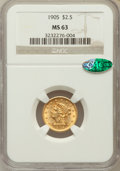 Liberty Quarter Eagles: , 1905 $2 1/2 MS63 NGC. CAC. NGC Census: (1276/2483). PCGS Population(1559/2175). Mintage: 217,800. Numismedia Wsl. Price fo...