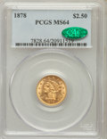 Liberty Quarter Eagles: , 1878 $2 1/2 MS64 PCGS. CAC. PCGS Population (133/41). NGC Census:(130/35). Mintage: 286,260. Numismedia Wsl. Price for pro...